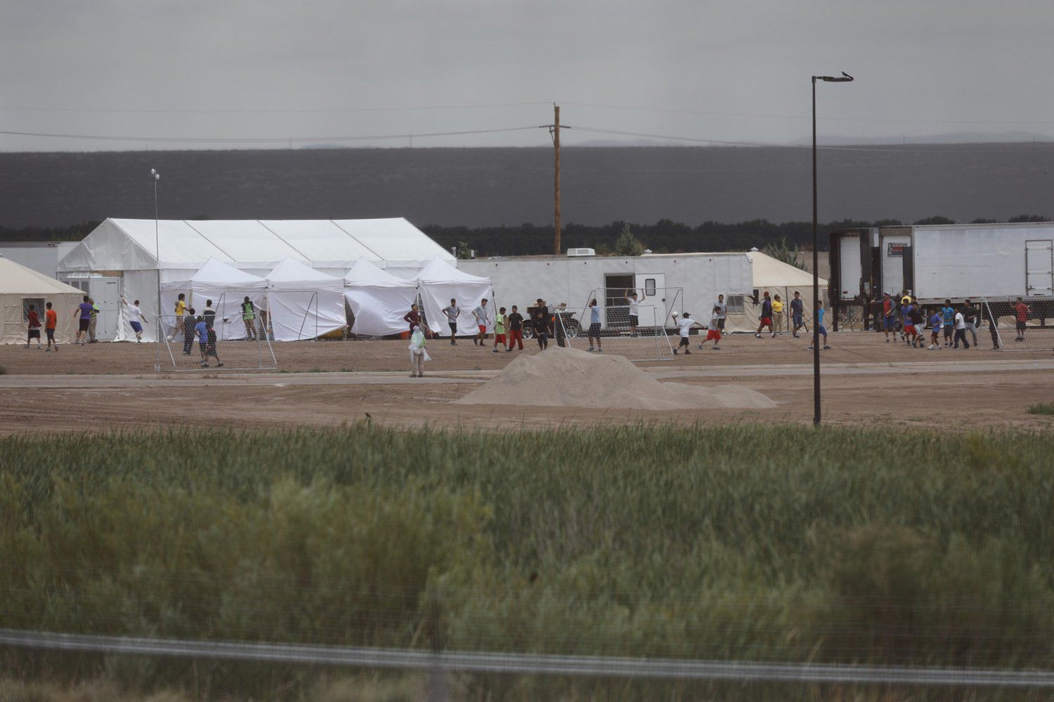 The tent city at Tornillo Port of Entry near El Paso on June 16, 2018. The facility was created to house immigrant children who were separated from their parents when they crossed the border.