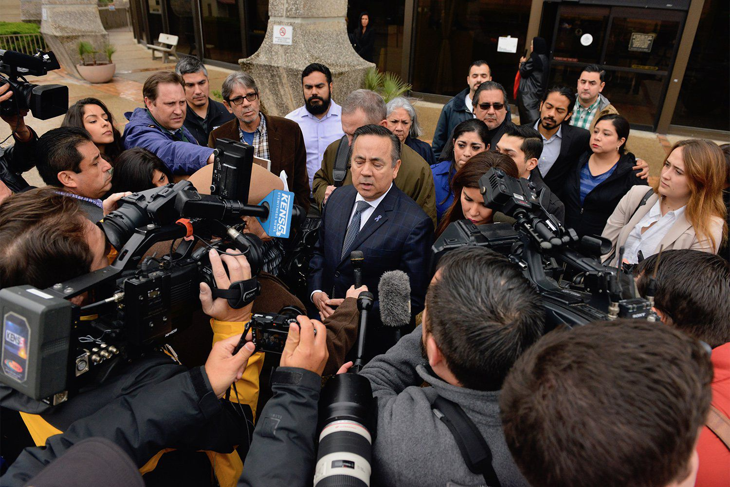State Sen. Carlos Uresti, D-San Antonio, speaks at a press conference outside the federal courthouse in San Antonio after being foundguilty of multiple felonies, on Feb. 22, 2018.