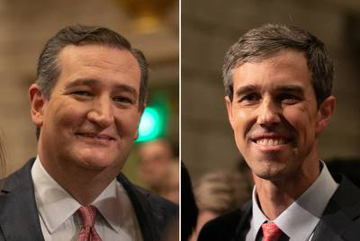 U.S. Sen. Ted Cruz (left) and U.S. Rep. Beto O'Rourke, D-El Paso, at the first of their three debates, in Dallas, on Sept. 21, 2018.
