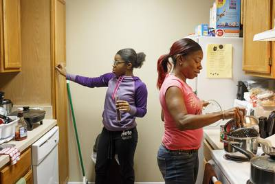 Denise Taylor with her daughter Kristina McCullough, 14, in their new apartment in Houston on Friday, Nov. 16, 2018.