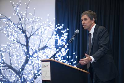 Former U.S. Rep. Beto O'Rourke speaks at the El Pasoan of the Year ceremony in El Paso on Tuesday.