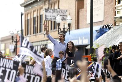 Presidential candidate Beto O'Rourke, along with wife Amy and children Ulysses, Molly and Henry, officially launch the 2020 campaign in El Paso on March 30, 2019.
