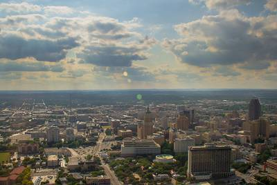 The skyline of San Antonio, the state's second most populous city.