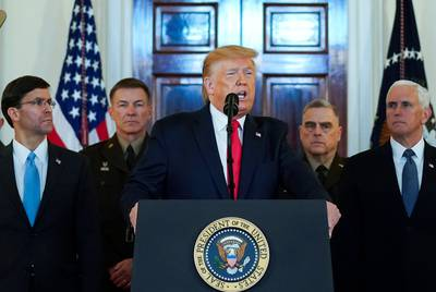U.S. President Donald Trump delivers a statement about Iran at the White House in Washington D.C. on January 8, 2020.