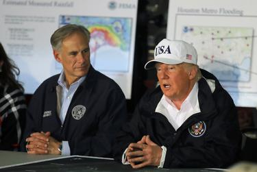 President Donald Trump received a briefing on Hurricane Harvey relief efforts with Gov. Greg Abbott in 2017.