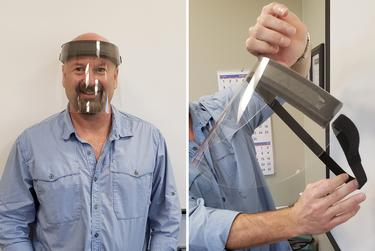 GelPro CEO Robb McMahan with a prototype of a face shield.