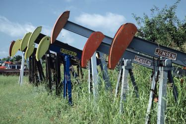 Oil rigs in Brown County were idle during the bust of the late 1980s.