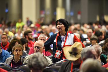 Delegate Elizabeth Victory listened to discussions during the final afternoon of the 2018 Republican Party of Texas convention in San Antonio.