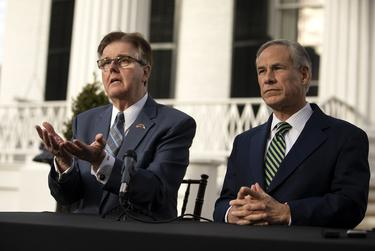 Lt. Gov. Dan Patrick, left, plans to attend the Republican Party's national 2020 convention in place of Gov. Greg Abbott, right, who will remain in Texas to deal with the ongoing coronavirus pandemic.