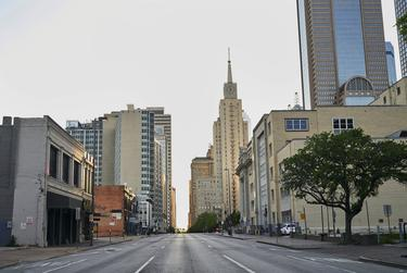 Downtown Dallas was deserted on March 31.