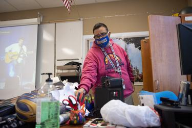 World history teacher Paul Chapa cleans out his classroom at Judson High School for the first time since spring break on Tuesday, Aug. 11, 2020 in Converse.