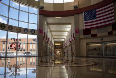 The empty entry way of Judson High School on Tuesday, Aug. 11, 2020 in Converse.