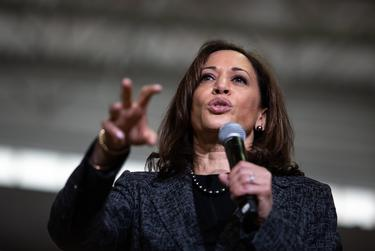 Democratic vice presidential candidate Kamala Harris speaks during a campaign event at Texas Southern University in Houston on March 23, 2019.