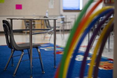 A desk is distanced six feet apart from other desks at Premont Ernest H. Singleton Early College Academy on Tuesday, Aug. 4, 2020 in Premont. When the school reopened in June, students held hula hoops around themselves in line to maintain a socially safe distance from each other.