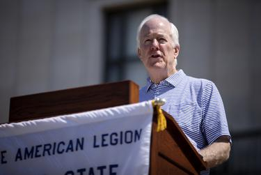 U.S. Senator John Cornyn speaks at The American Legion Boys State ceremony on the south steps of the University of Texas at Austin tower on June 14, 2019.