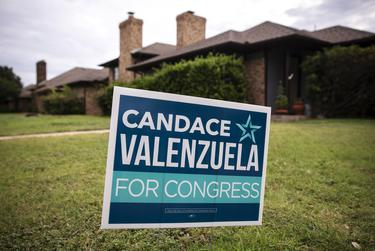 A campaign sign outside of candidate Candace Valenzuela's home in Dallas on July 29, 2020. Valenzuela is running for Texas' 24th Congressional District.