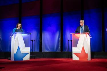 Austin, TX October 9, 2020:  Republican U.S. Sen. John Cornyn of Texas and Democratic challenger MJ Hegar of Round Rock prepare to face off in a Nexstar televised debate Friday night at the Bullock Texas State History Museum.  Hegar is slightly behind the long-time senator in the lastest polls late in the campaign.