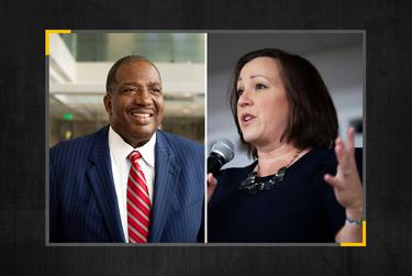 Sen. Royce West, D-Texas, Democratic U.S. Senate candidate MJ Hegar.