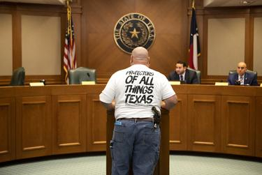 Supporters of CSHB 583 speak at a hearing by the House Committee on Culture, Recreation and Tourism. The bill would make it a criminal offense to remove monuments and memorials to Texas heroes or historical events. April 9, 2019.