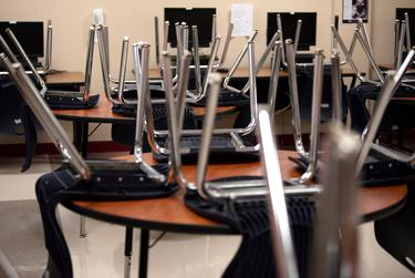 Chairs are stacked on tables in a classroom at Judson High School  in Converse on Aug. 11, 2020.