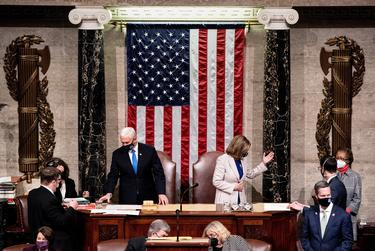 Vice President Mike Pence and House Speaker Nancy Pelosi preside over a joint session of Congress to certify the 2020 Electoral College results, after supporters of President Donald Trump stormed the Capitol earlier in the day.