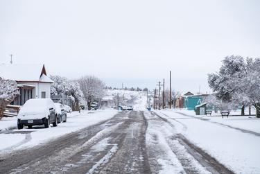 Marfa is covered with snow on Thursday, Feb. 18, 2021. The temperature dropped to 7 degrees on Friday morning.