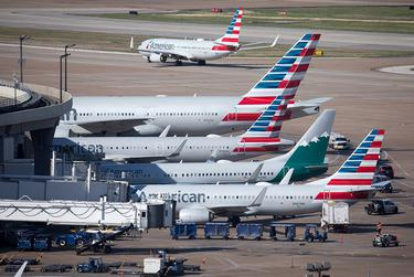 American Airlines jets fill Terminal A at Dallas-Fort Worth International Airport in April of 2019.