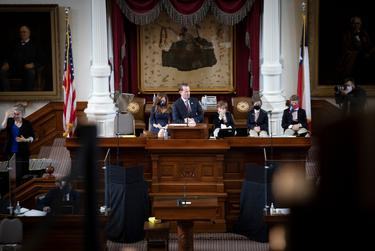 Newly elected Speaker of the House Dade Phelan addresses the House Floor on opening day of the Legislative Session on Jan. 12, 2021.