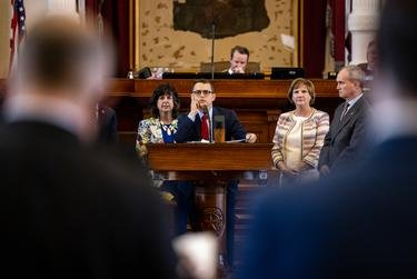 State Rep. Briscoe Cain, R-Deer Park, flanked by his Republican colleagues, answers questions regarding SB 7, a voting rights bill adopted from the Senate, on May 6, 2021.